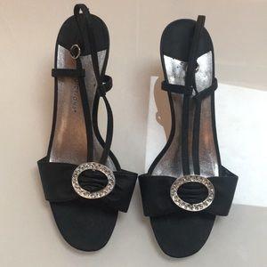 Dressy Black Fabric Crystal Accent Sling Back Shoe